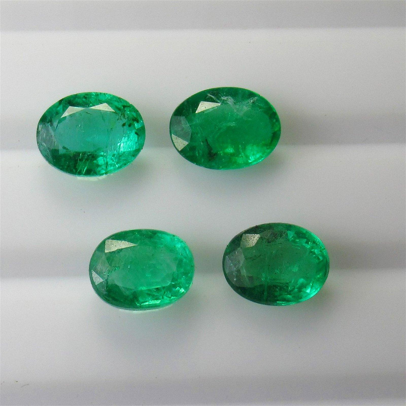 7.50 Ct Genuine 4 Zambian Emerald Matching Oval Set