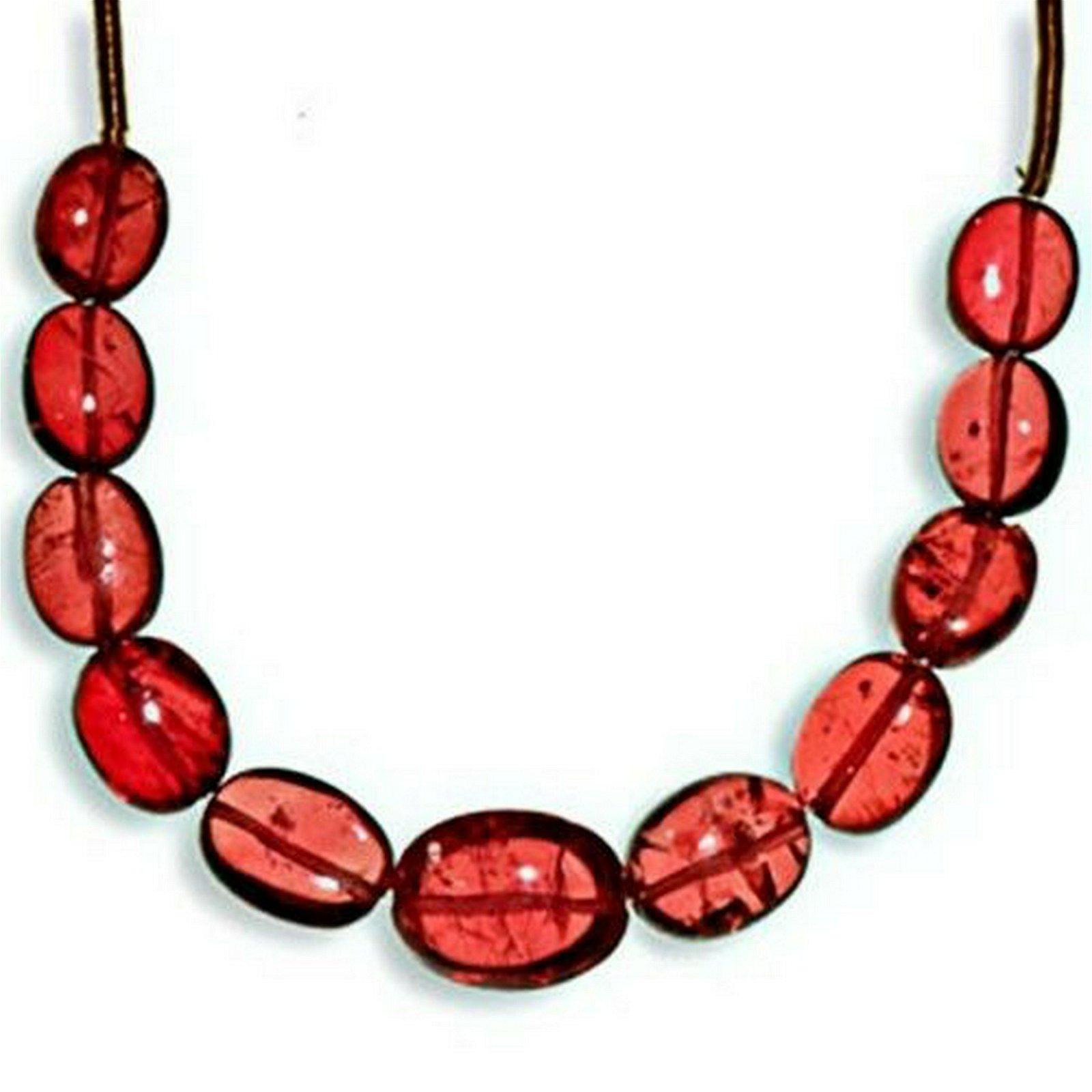 15.78-Carat 11-pc Strand of Deep Pinkish Red Mogok