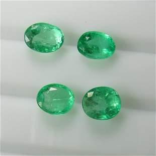 486 Ct Genuine 4 Zambian Emerald Matching Oval Set