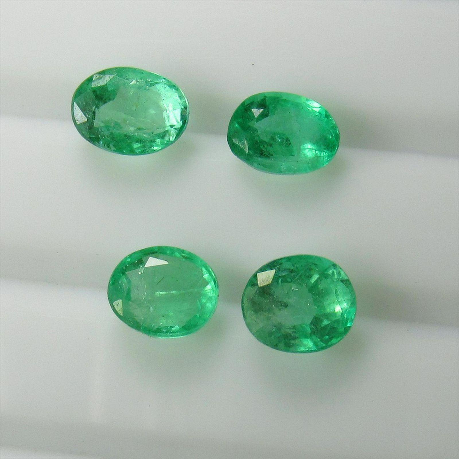 4.86 Ct Genuine 4 Zambian Emerald Matching Oval Set