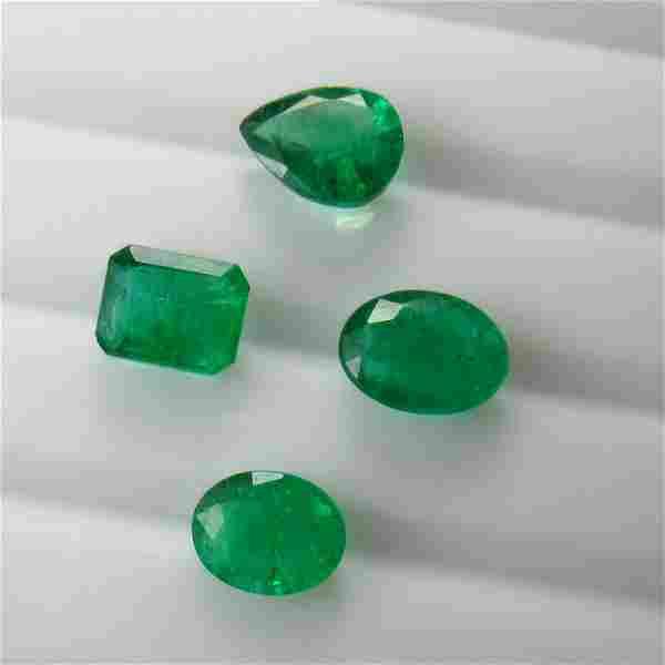 6.90 Ct Genuine 4 Zambian Emerald Mixed Cut Lot