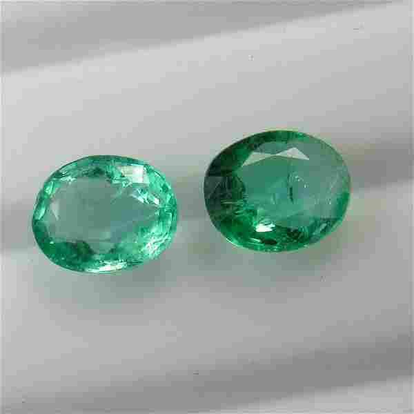 3.00 Ct Genuine Zambian Emerald Oval Pair