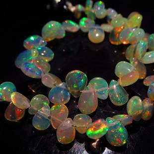 4460 Ct Genuine 57 Drilled Pear Fire Opal Beads