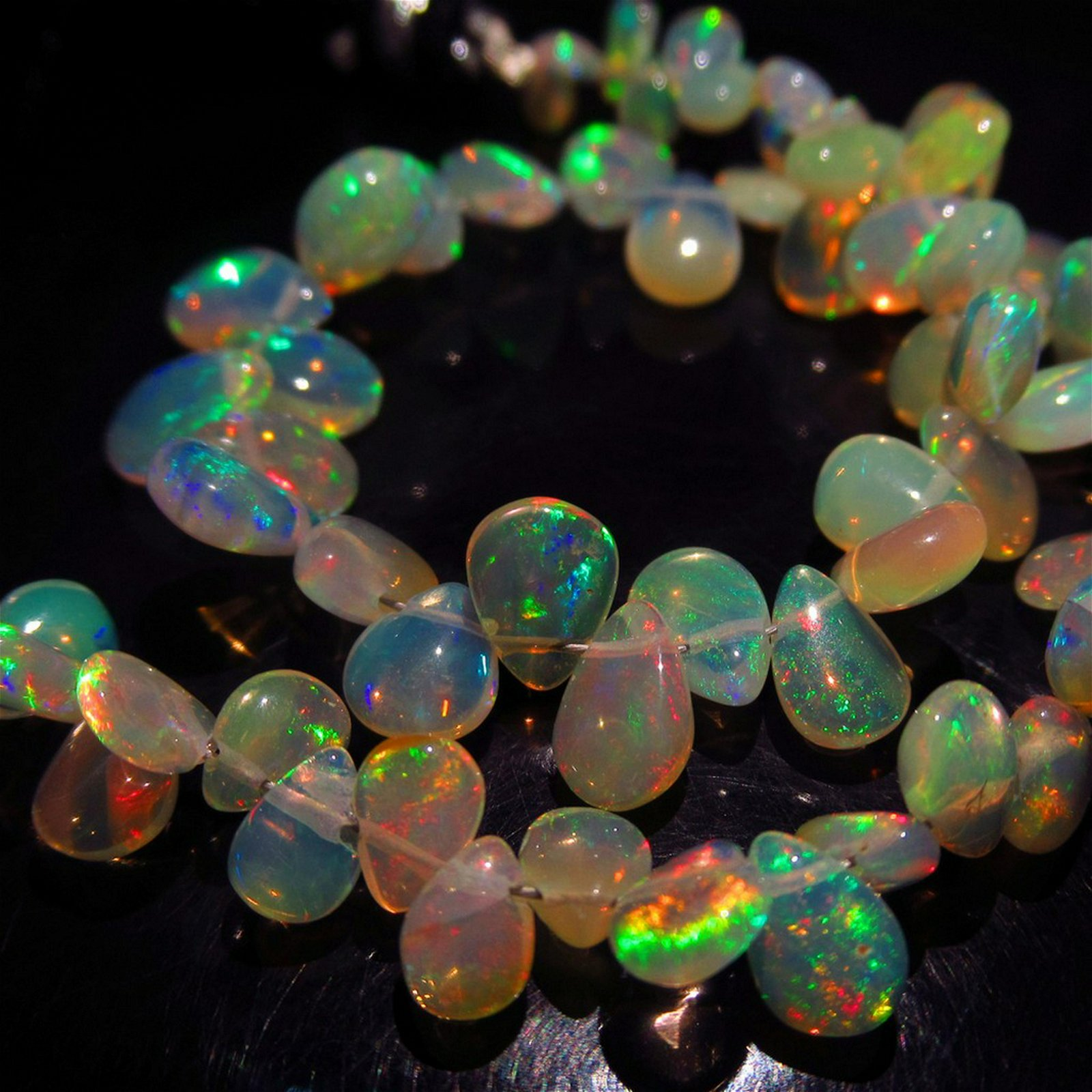 44.60 Ct Genuine 57 Drilled Pear Fire Opal Beads