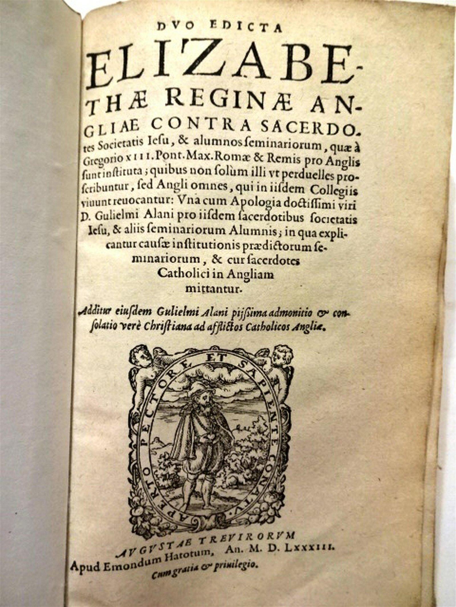 1583 Duo Edicta Elizabethae Reginae Anglia