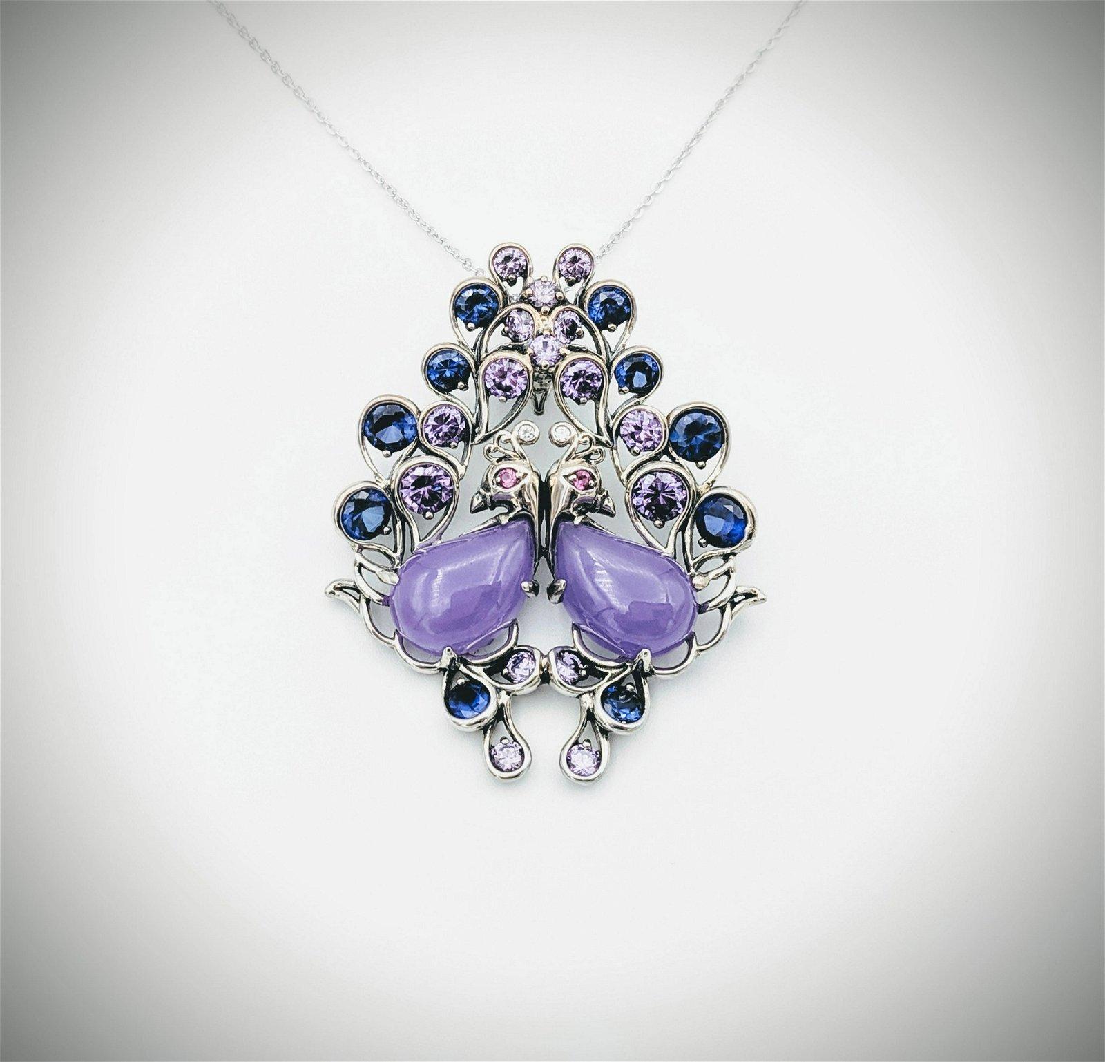 Love Birds Pendant w Violet Jade, Pink Amethyst & Blue