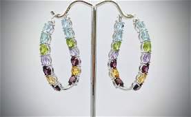 Sterling Silver Multicolored Gemstone Earrings w Blue