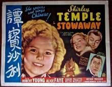 STOWAWAY - ORIGINAL 1936 HALF SHEET POSTER - RARE