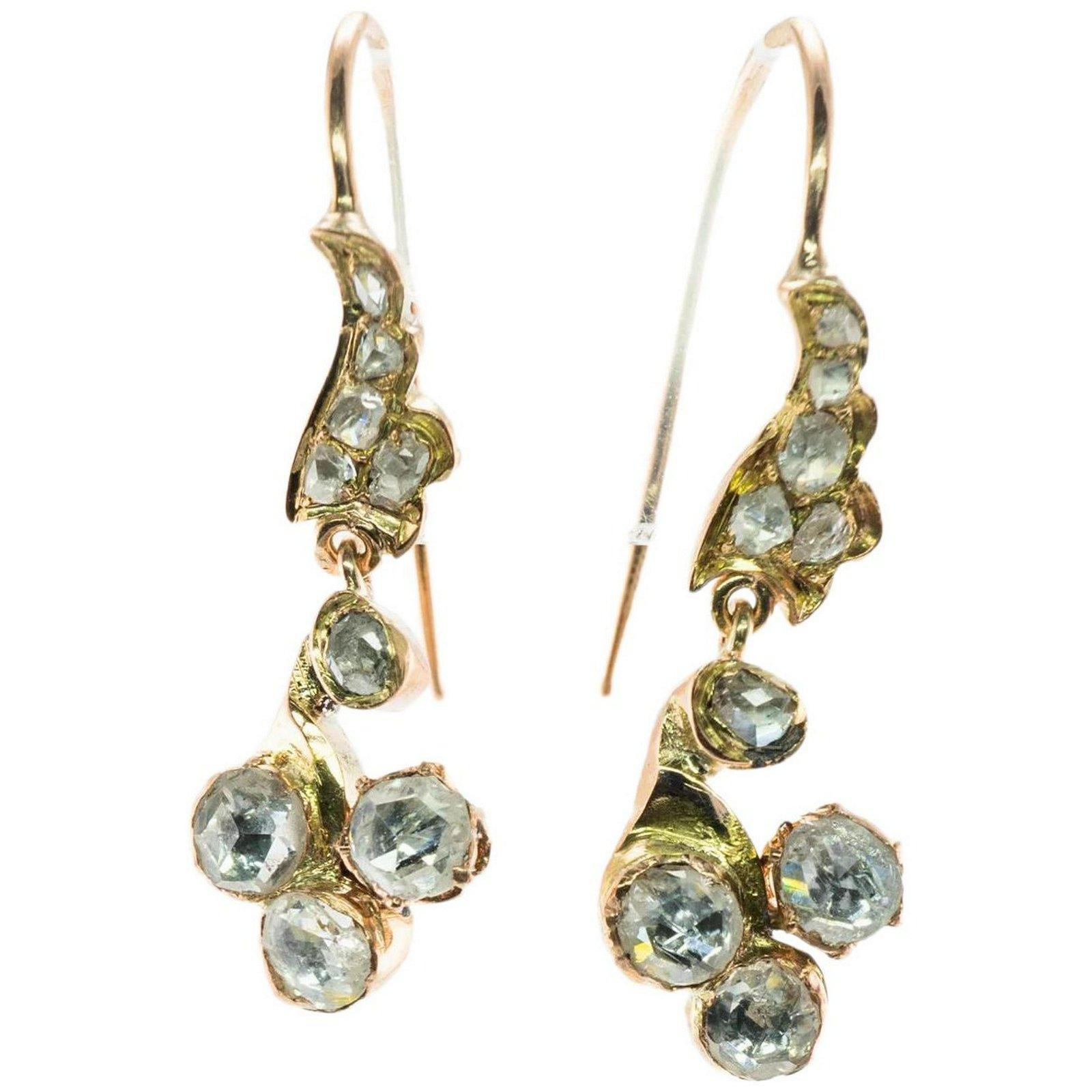 Georgian Diamond Dangle Earrings 14K Yellow Gold Rose
