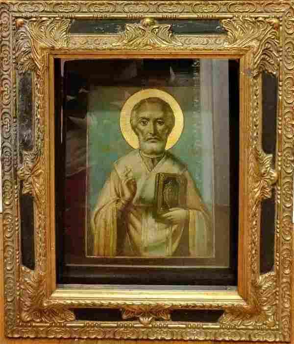 Antique 19c Russian icon St.Nicholas
