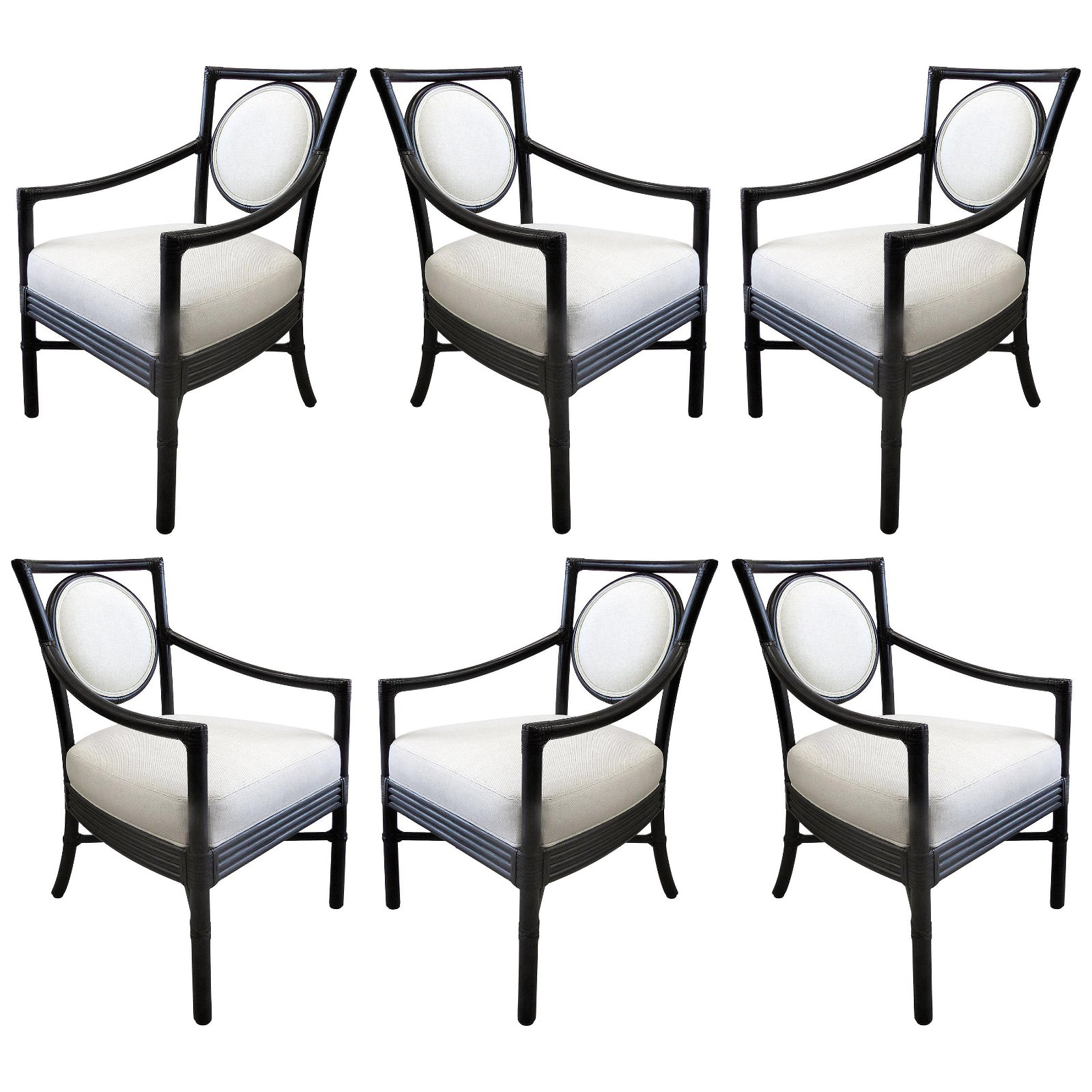 McGuire Rattan Dining Chairs with Leather Bindings in