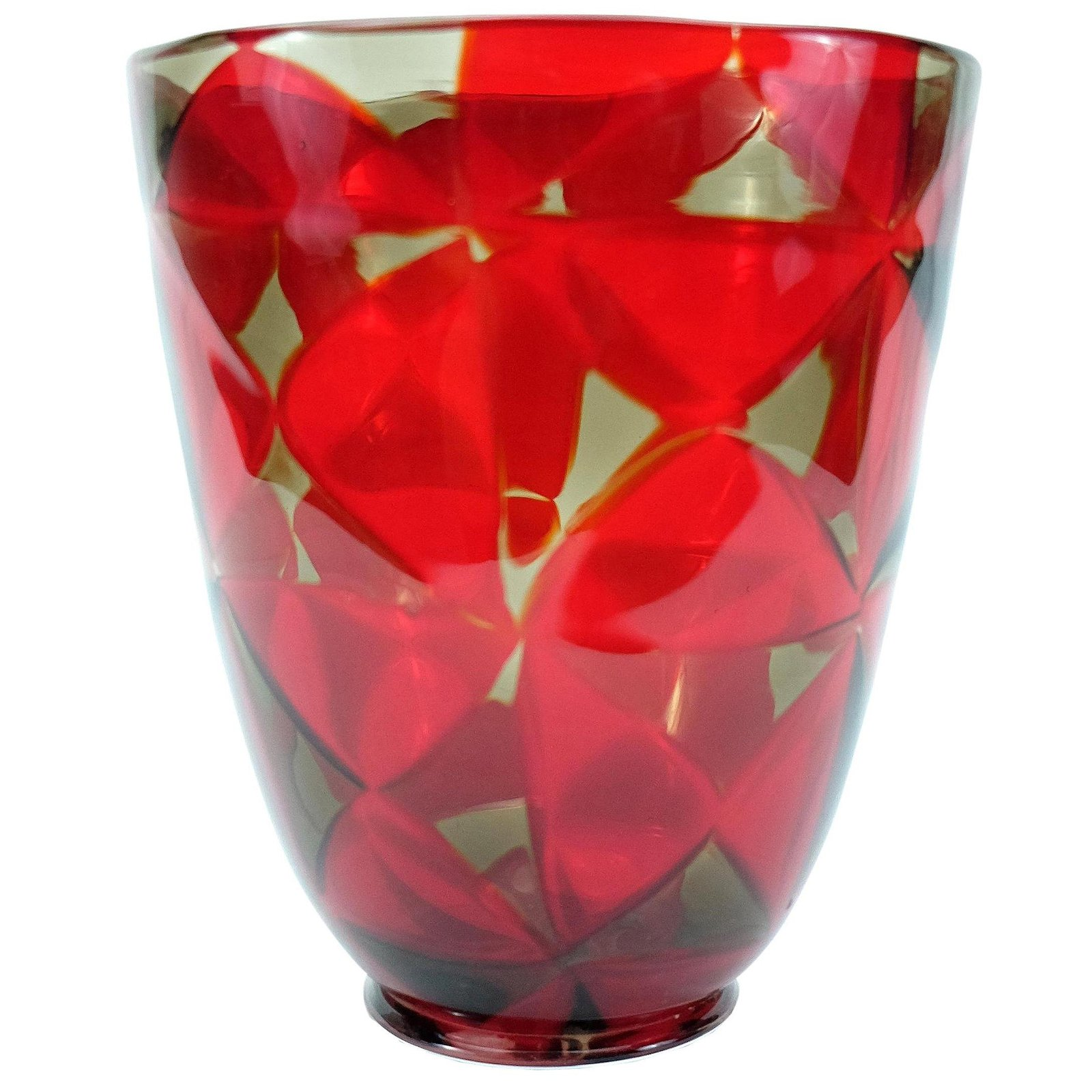 Barovier & Toso Red Mosaic Triangle Murano Glass Vase