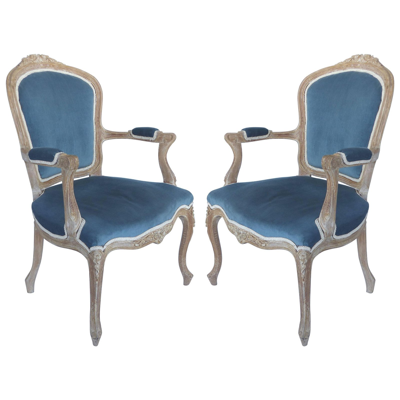 French Limed Louis XV Style Fauteuil Chairs with Velvet