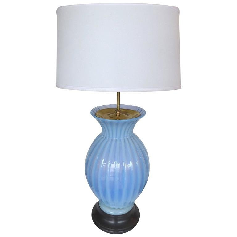 Mid-Century Modern Blue Murano Glass Table Lamp by