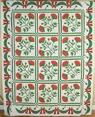 OUTSTANDING Vintage 1850's Red & Green Applique Antique