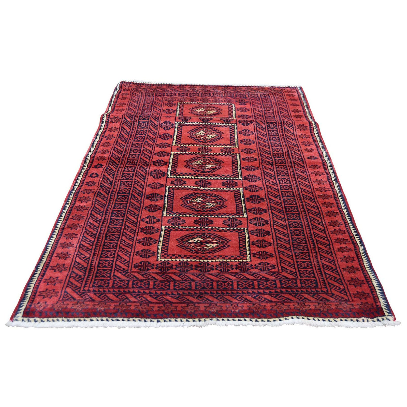 Afghan Baluch Natural Colors Hand Knotted Pure Wool Rug