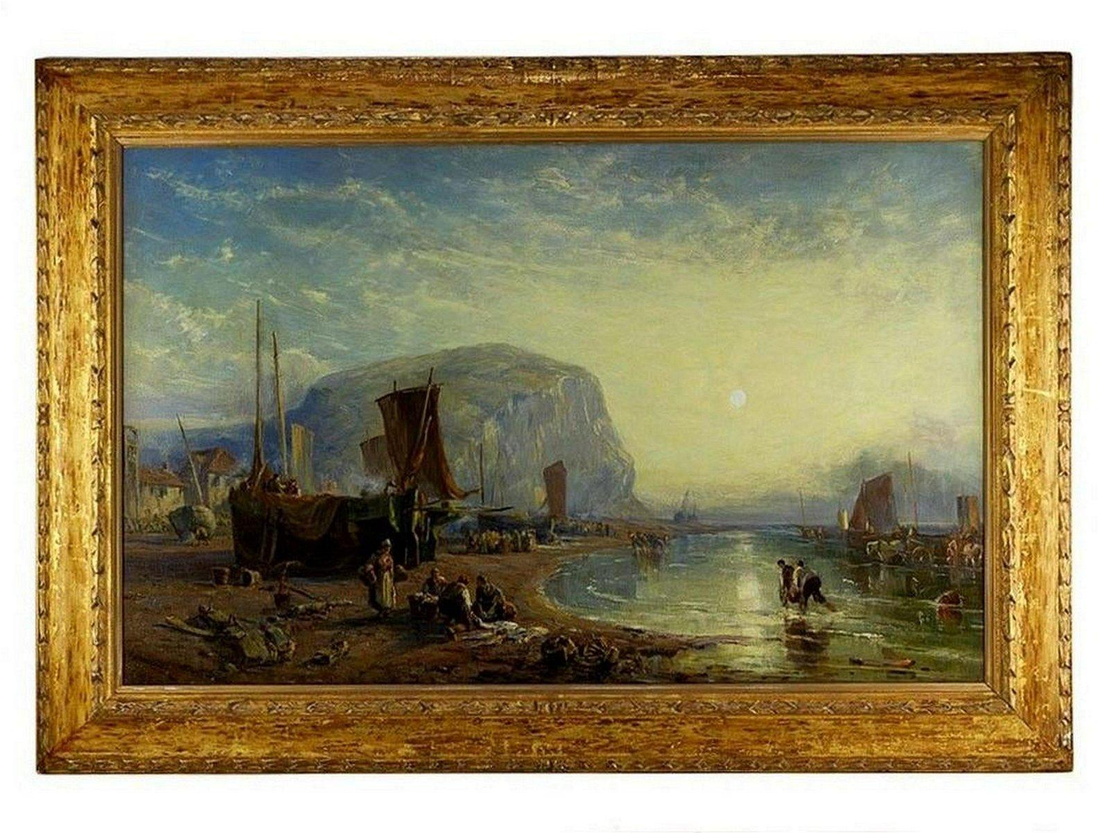 Antique Oil Painting Marine Seascape Staithes James