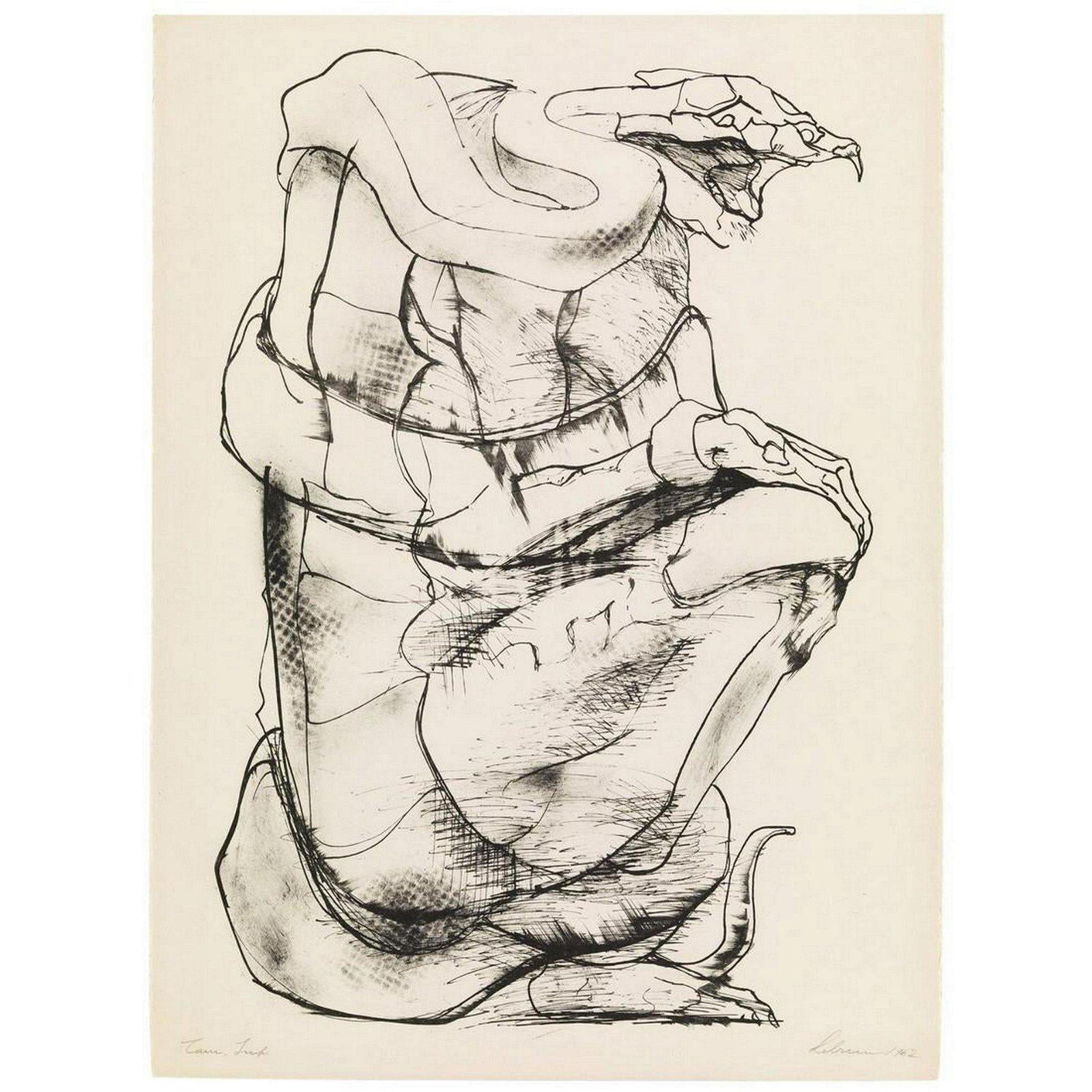 "Rico Lebrun ""Inferno Series - F, Lithograph, 1962"