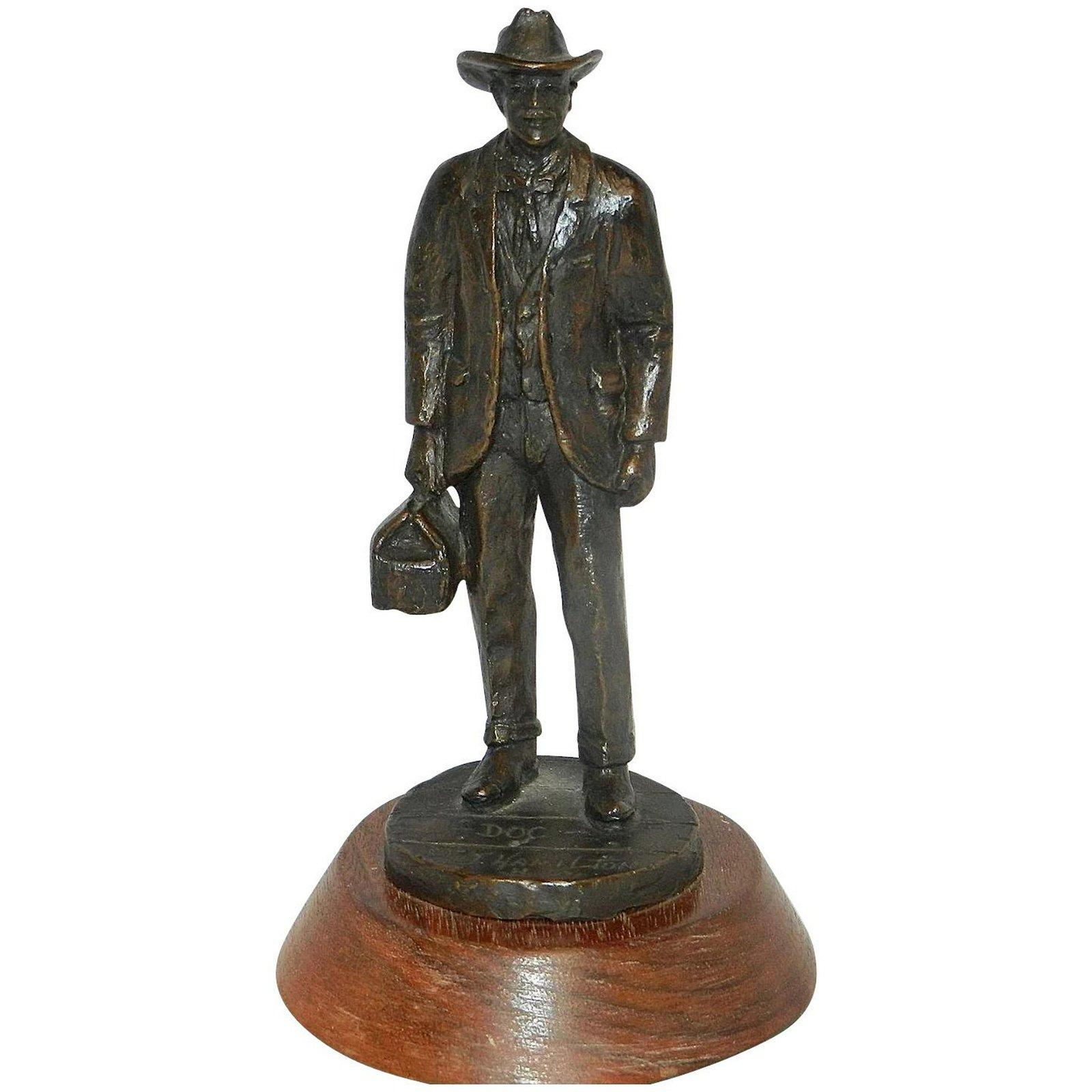 """Vintage J Hamilton Signed Bronze Sculpture Title """"Doc"""""""