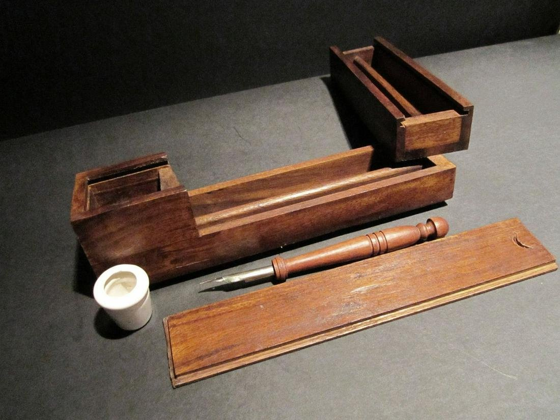 Wood Slide Lid Swing Open Writing Box Campaign Inkwell