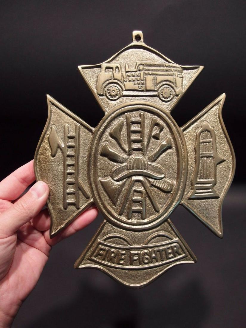 Brass Fire Fighter Plaque Fire Mark Sign
