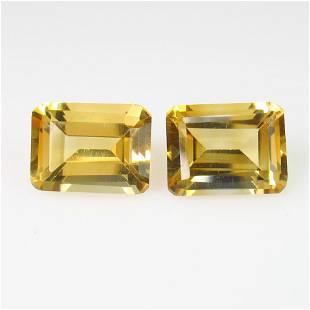 438 Ct Genuine Citrine 9X7 mm Emerald Cut Pair