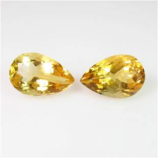501 Ct Genuine Yellow Citrine Pear Pair