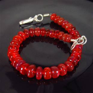 3192 Ct 925 Silver 39 Orange Fire Opal Beads Bracelet