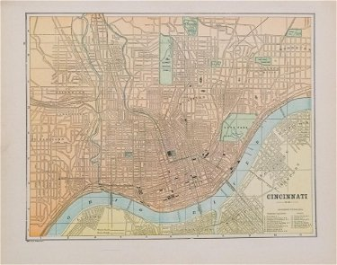 1896 Macy/Cram Map of Cincinnati -- Cincinnati on eastern time zone map, central time zone map, bloomington map, bunker hill map, fremont map,