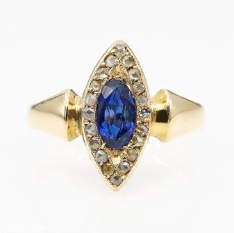 0.73ct Antique Vintage Victorian Sapphire and Diamond