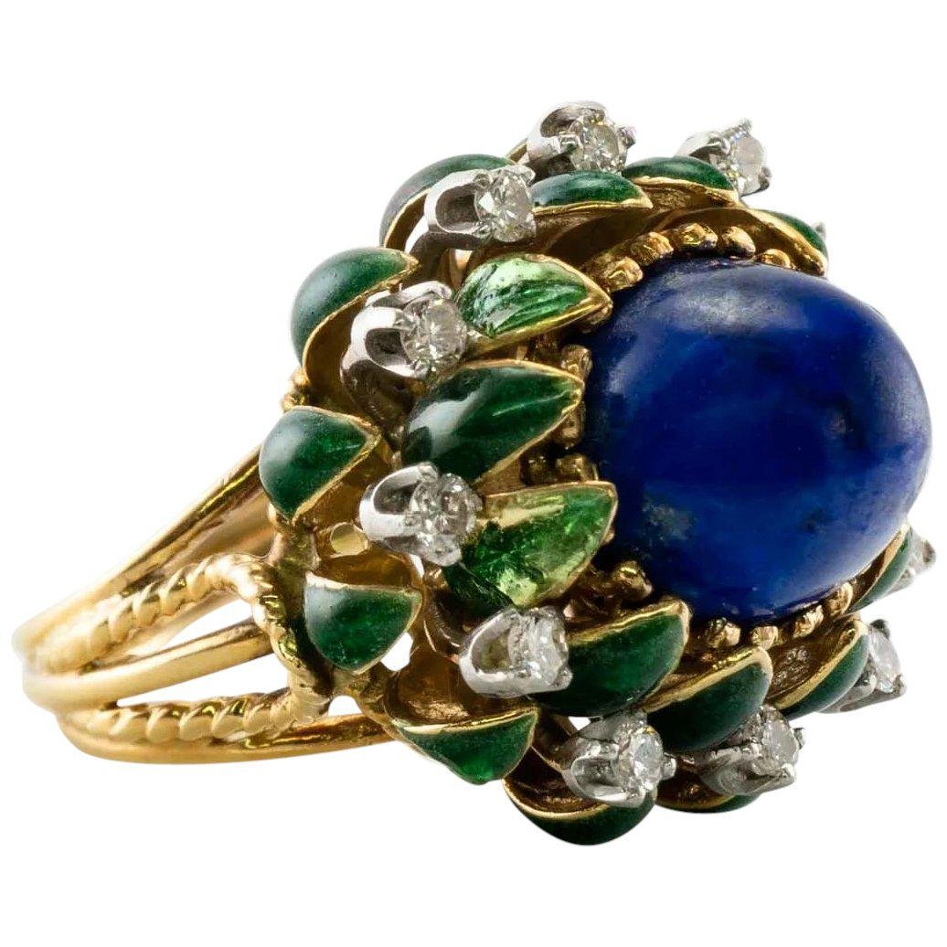 La Triomphe Lapis Natural Diamonds Enamel Ring 18K Gold