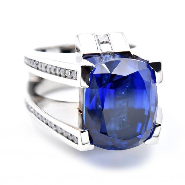 Gauthier 14k White Gold Tanzanite and Diamond Ring