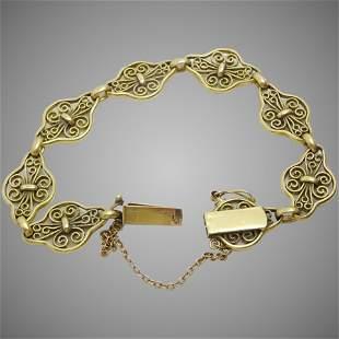 Vintage 18 karat Gold French Filigree Bracelet