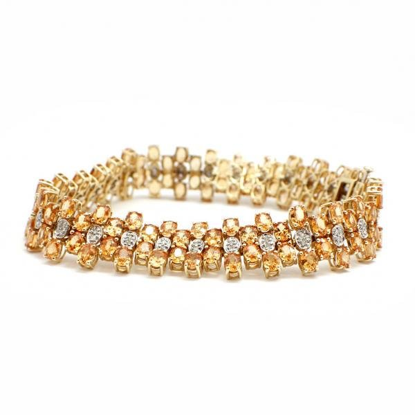 14k Yellow Gold, Diamond and Orange Citrine Bracelet