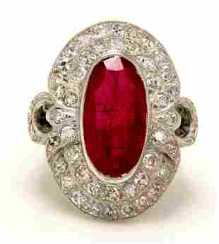 GIA 4.70CT Vintage Ruby and Diamond Cluster Dinner 18k