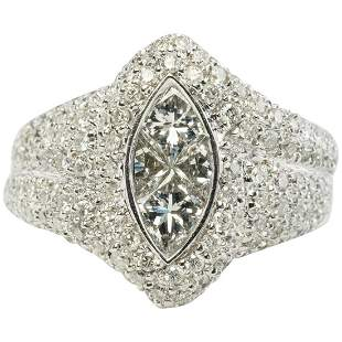 Engagement Natural Diamond Ring Invisible Set 14K White