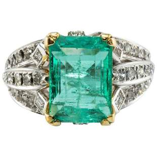 Natural Colombian Emerald Diamond Ring 18K White Gold