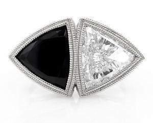 GIA 388ct Estate Vintage Crossover Bypass Diamond Onyx