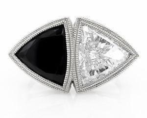 GIA 3.88ct Estate Vintage Crossover Bypass Diamond Onyx