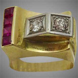 Vintage late Art Deco Cocktail Ring set with Rubies