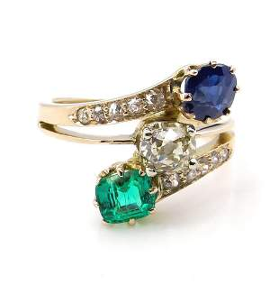 209ct Victorian Antique Green Emerald Sapphire and