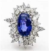 GIA 15.49ct Estate Vintage No Heat Blue Sapphire