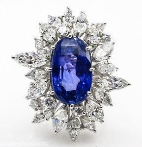GIA 15.49ct Estate Vintage No Heat Blue Sapphire
