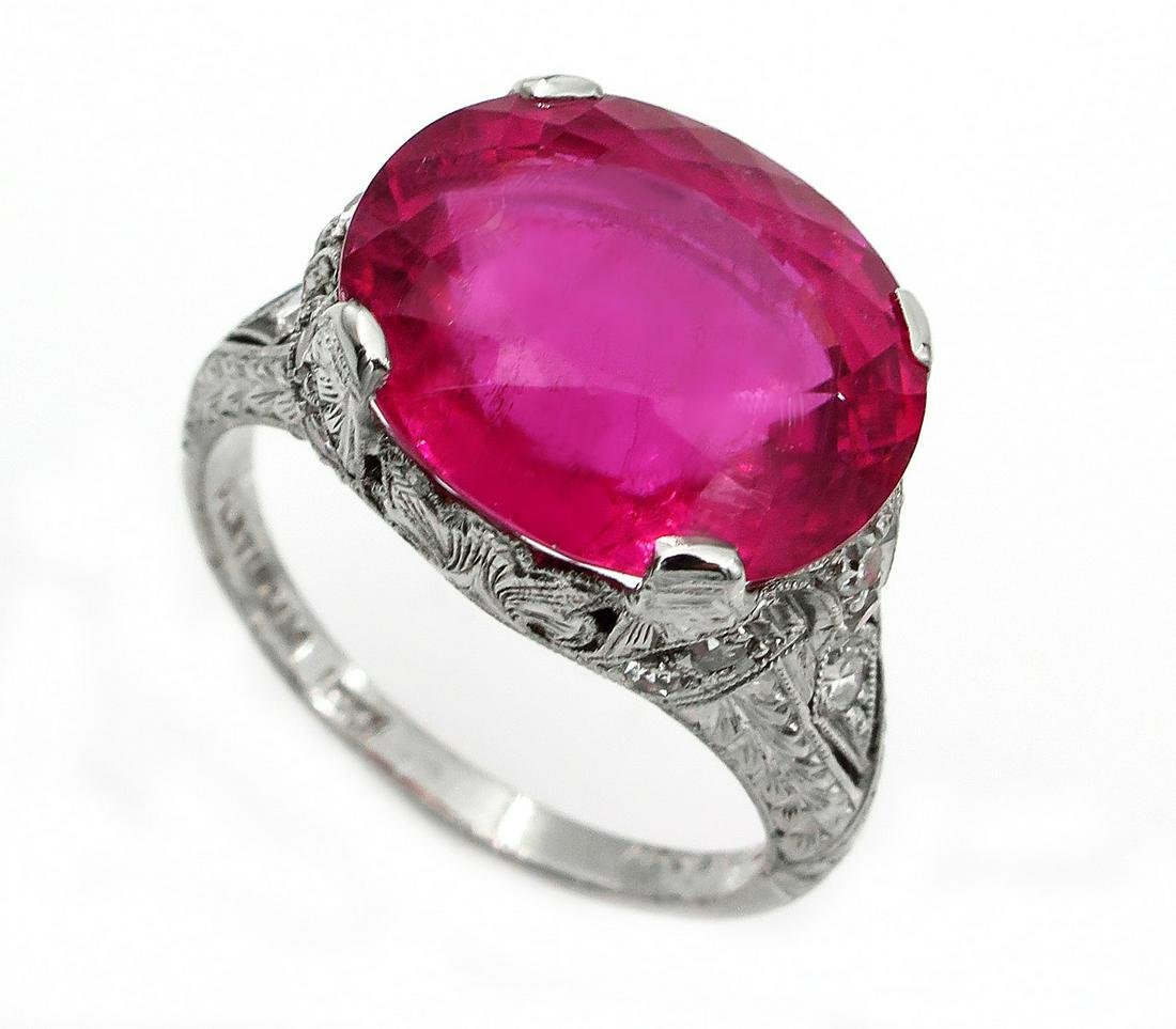 Original Art Deco GIA 8.52ct Rubellite Tourmaline