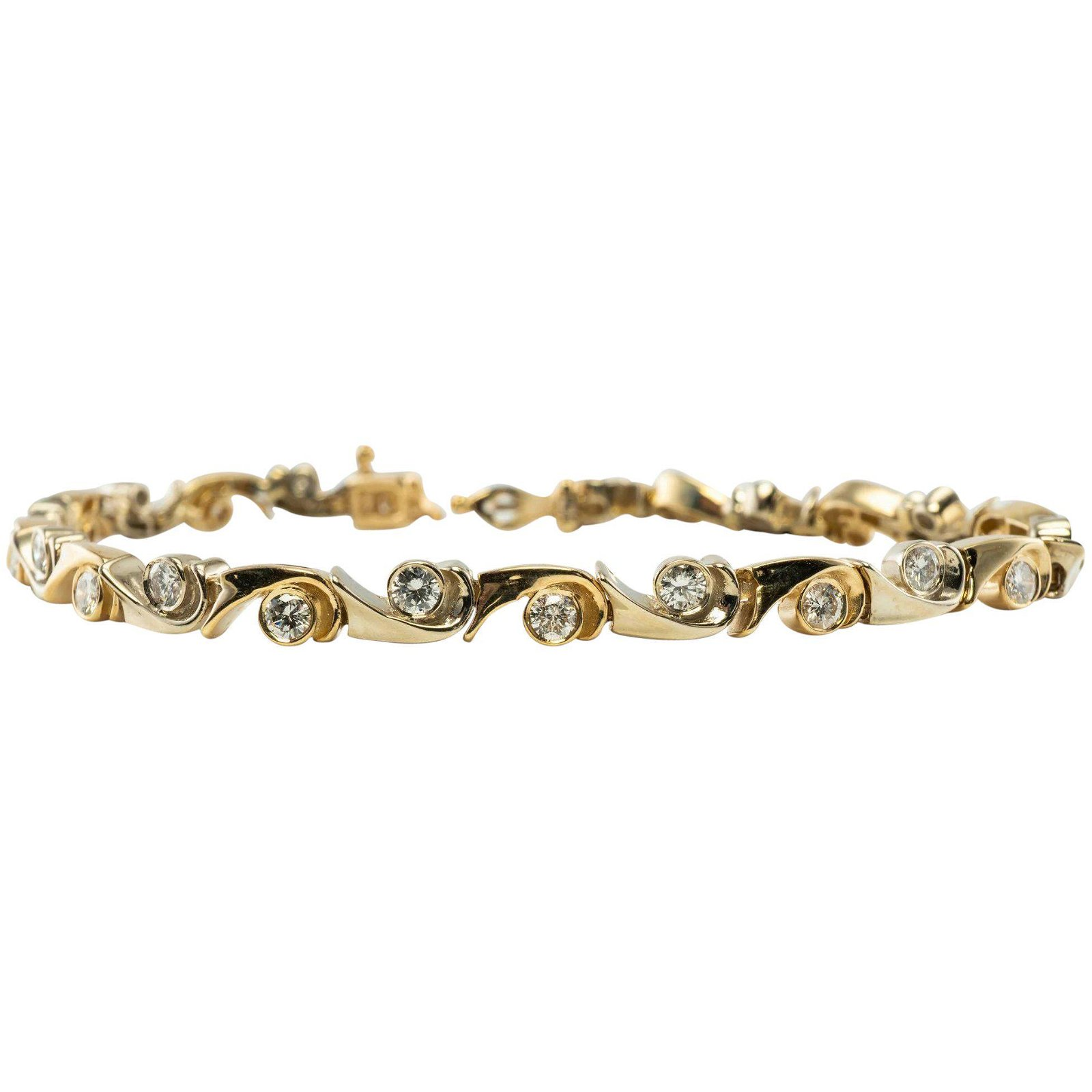 Diamond Bracelet Links 14K Yellow Gold 1.92cttw