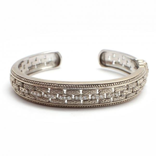 18k White Gold Judith Ripka Diamond Hinged Bangle