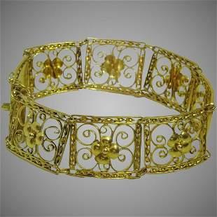 Antique 22 karat Gold Wire Work Bracelet from East of