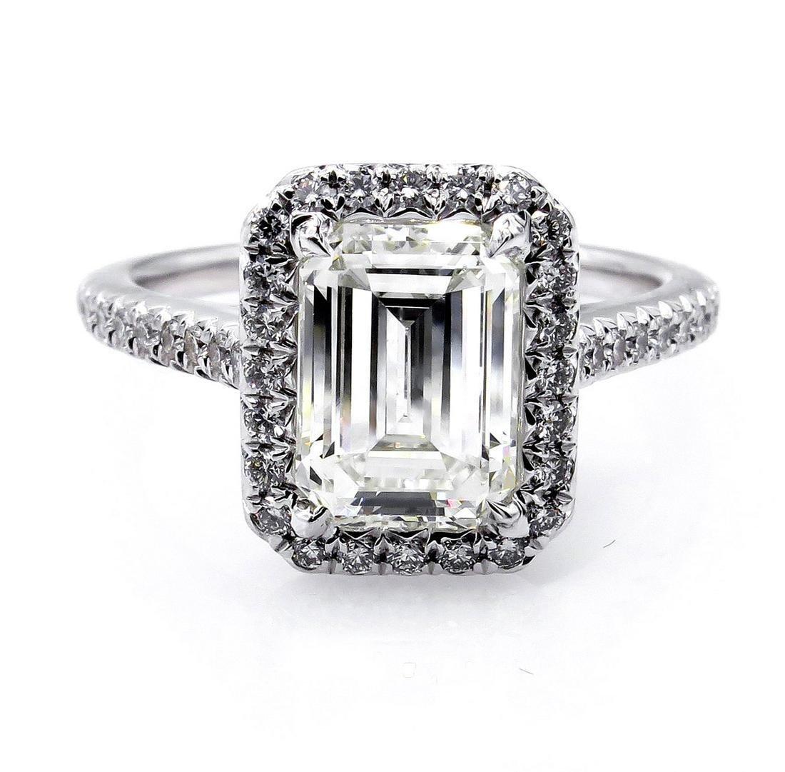 GIA 2.59ct Estate EMERALD cut Diamond Solitaire