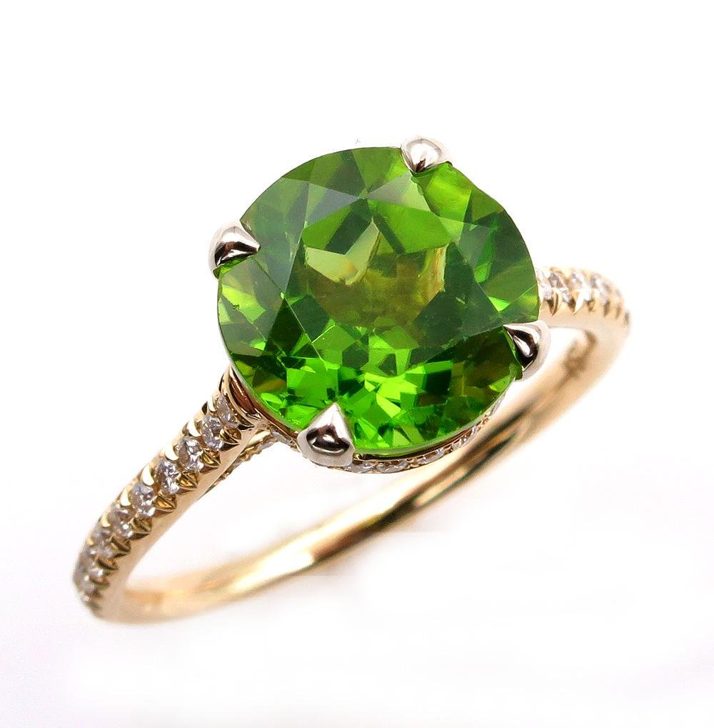3.40ct ROUND Cut PERIDOT Engagement DIAMOND Wedding