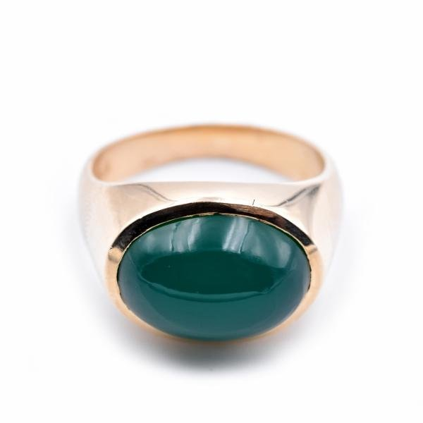 14k Yellow Gold Green Apple Jade Ring